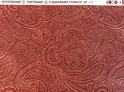 Burgundy, Classic Design Screen Print Fabric By P. KAUFMAN Cotton 3 Yards X 54""