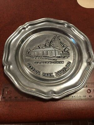 Severna Park Maryland Old Railroad Station Wilton Pewter Plate FREE SHIPPING