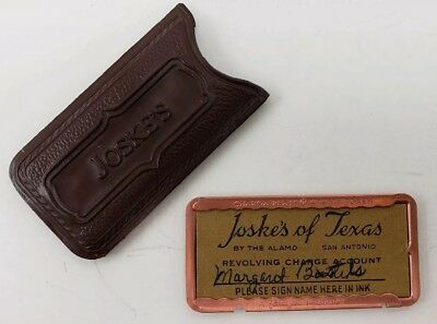 Vintage Joskes Of Texas 1940s Charge Plate In Original Case