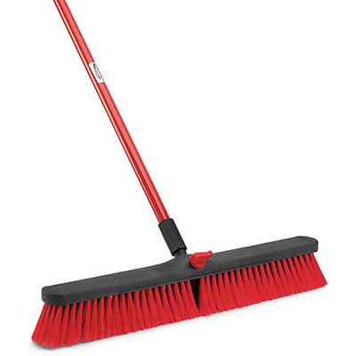 "LIBMAN Push Broom with Resin Block - 24"" - Medium-Duty Bristles, Lot of 4"