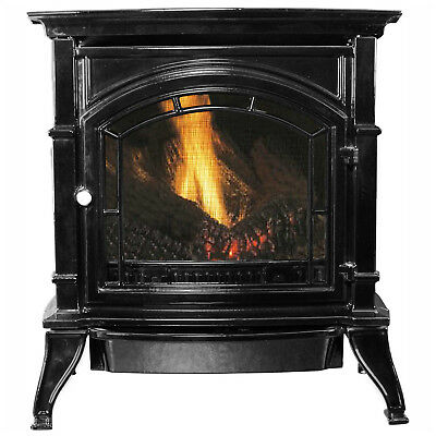 Ashley Vent Free Natural Gas Stove, Black Enameled Porcelain Cast Iron, 31000