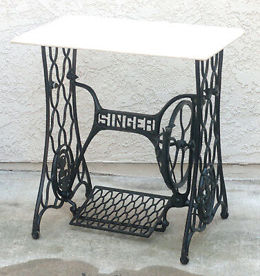 Antique Singer Treadle Sewing Machine Stand With Marble Top