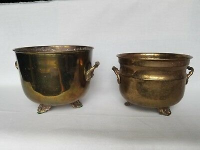 2 Vintage Solid Brass Footed Urn Style Planter Pots
