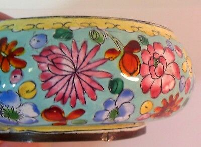 Antique Vintage QING Chinese Pin Dish Trinket Bowl Enamel on Copper Flowers