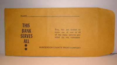 Collectible Bank Hunterdon County Trust Co Pay Envelope Califon-Oldwick etc(1)NJ