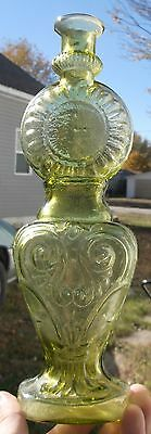 Very Nice Yellow Colored Figural Clock Bottle Hand Blown Shiny Clean L@@k