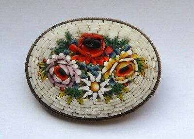 LOVELY Vintage 1950s ITALY Handmade  Micro Mosaic Floral Brooch PIN