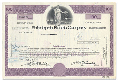 Philadelphia Electric Company Stock Certificate