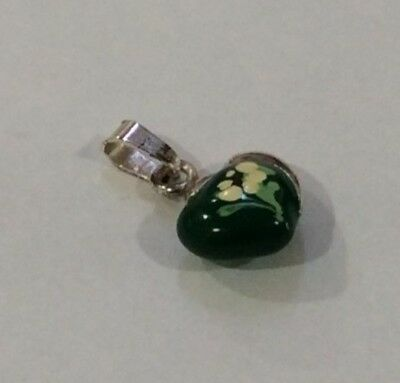 925 Sterling Silver Heart Shape Pendant with Green and White Enamel