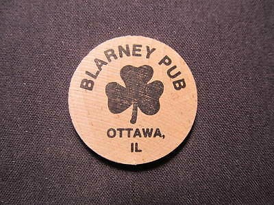 Ottawa, Illinois Wooden Nickel token - Blarney Pub Wooden Nickel Drink Coin