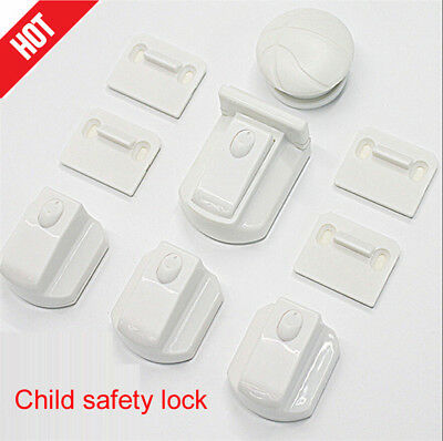 10 Sets Magnetic Cupboard Cabinet Drawer Safety Lock Latch Kids Proof AU