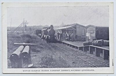1908 Pt Npu Postcard Boonah Railway Station Southern Queensland Franco Exhib. Q2