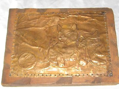 Vintage Embossed Copper Metal Art Picture of Two Kittys Looking at a Dragonfly