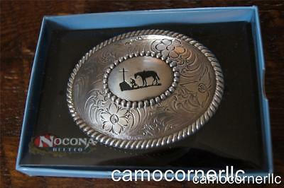 Nocona Cowboy Praying at the Cross Belt Buckle M & F Western 37056
