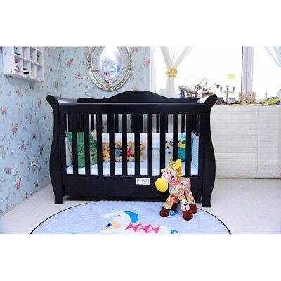 3 in1 black walnut New Zealand Pine Baby Cot Toddler Bed with Drawer