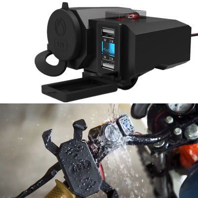 12V Motorcycle Dual USB Charger Cigarette Lighter Power Socket Waterproof Switch