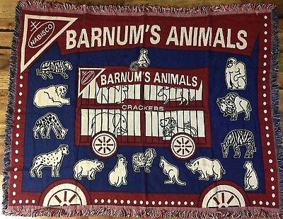 "*NEW* Barnums  Animals 46"" x 60"" Blanket in Vintage Collector's Gift Tin Key Box"