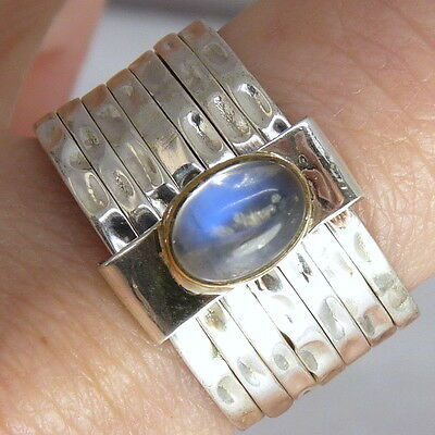 7-STACK + Gem Sz US 7.5 SILVERSARI Ring Solid 925 Stg Silver MOONSTONE STR1009