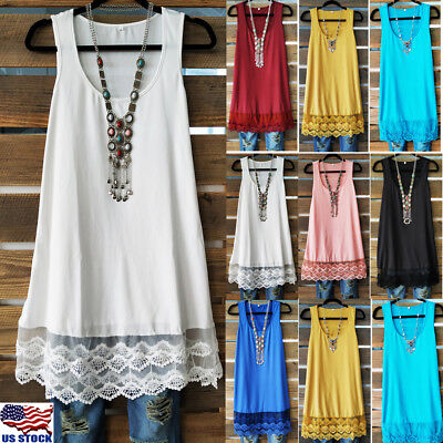 Womens Sleeveless Cami Hem Lace Strappy Tunic Swing Vest Mini Skater Dress Tops