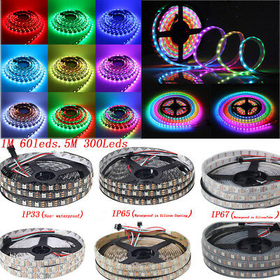 WS2812B DC5V RGB LED Strip 30/60/144 LED/M SMD 5050 IP67 Waterproof Addressable