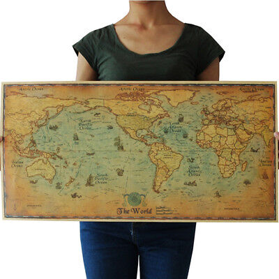 Vintage Sailing Map Of The World Poster Kraft Paper Wall Home Decor Art Print