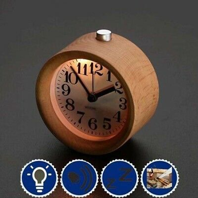Alarm Clock with Light Wood Classic Round Silence Table Clocks Snooze Function