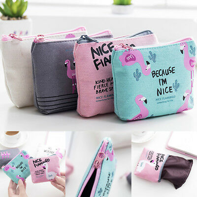 Kawaii Flamingo Canvas Coin Purse Women Children Wallet Bag Zip Mini Pouch Bags