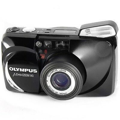 Olympus mju Zoom 140 Vintage Clamshell Compact 35mm Film Camera in Black Boxed