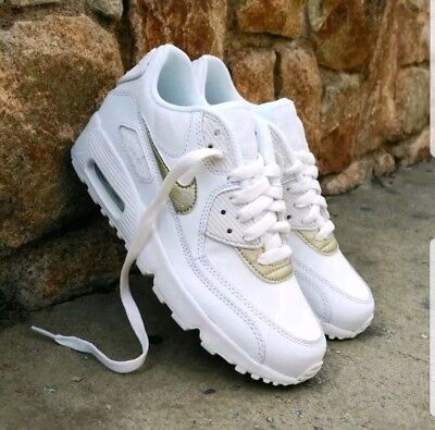 best service 0c63f 2ecca Nike Air Max 90 LTR GS boys womens trainers White Gold 833376-103 UK 5.5