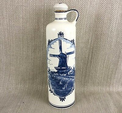 Vintage BOLS Delft Blue & White Decanter HOLLAND Dutch Windmill Flask Bottle 11""