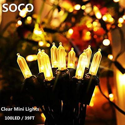 String Lights Secoo M5 Solar Powered 100 LED 39ft Outdoor Clear Mini Christmas