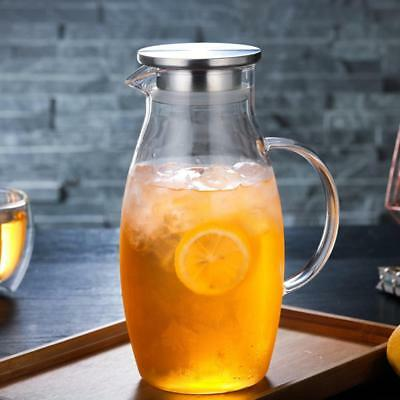 Glass Water Jug Water Juice Carafe Iced Tea Pitcher Tea pot Stainless Steel Lid