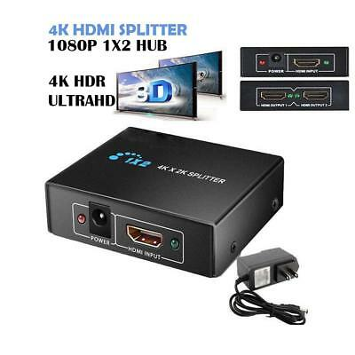 1×2 HD HDMI Splitter v1.4D View 4K 3D 1080p One Input to Two Output Top Home New