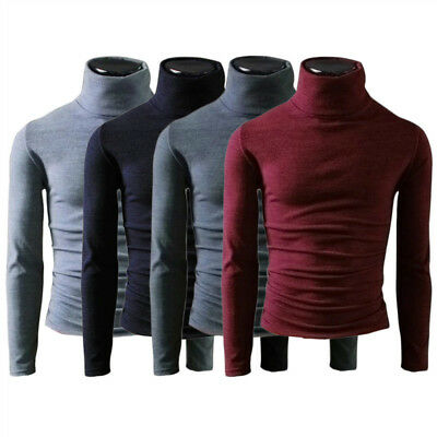 Men's Pullover Turtleneck Knitted Long Sleeve T-Shirt Wool Roll-neck Sweater Top