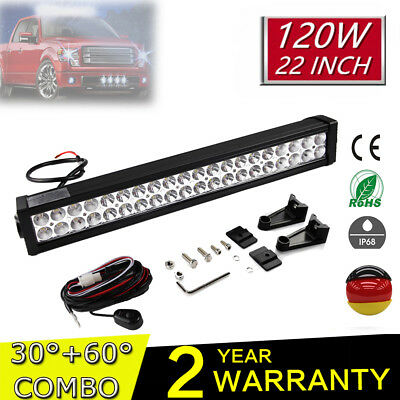 """24"""" 120W LED Work Light Bar Arbeitsscheinwerfer Combo Off road Driving 4x4WD LKW"""