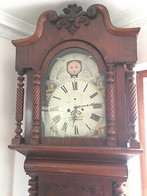 Antique Mahogany Moon Phase Longcase Grandfather Clock