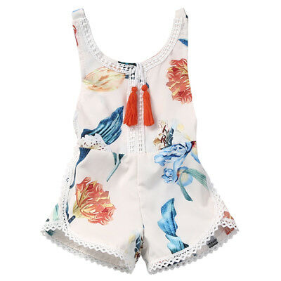 Summer Baby Girls Romper Sleeveless Flower Jumpsuit Play suit Outfit Clothing