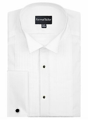 Mens White Evening Pleated Slim Fit Wing Collar Formal Dress Shirt Tux Tuxedo