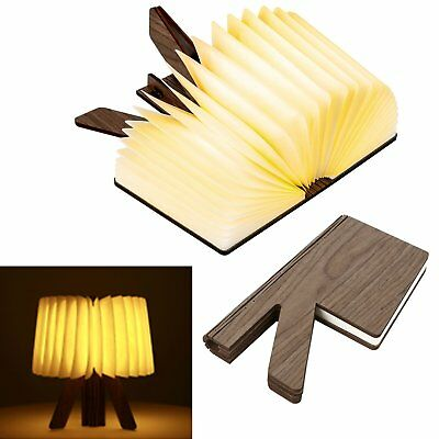 Wooden Folding Book Lamp, USB Rechargable R Shaped Lightening Book Warm/Cool