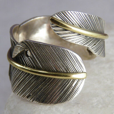 FEATHER or LEAF Wrap Ring Size US 5-8 (Adj) SilverSari Solid 925 Silver + Brass