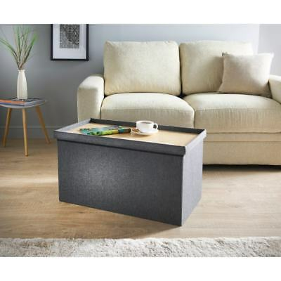 Luxury Fabric Allerton Grey Ottoman With Built In Coffee