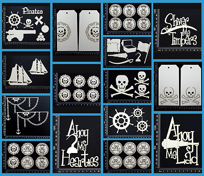 White Chipboard Embellishments - Pirates