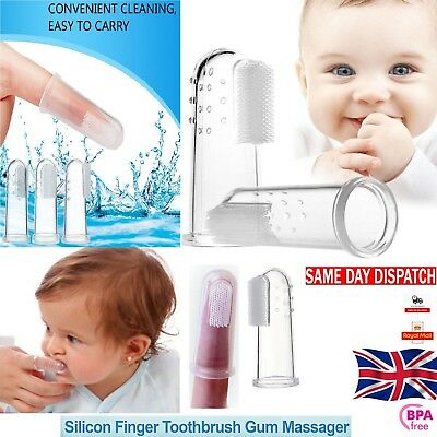 Baby Finger Soft Silicone Toothbrush Oral Teether Toddler Teeth Gum Massager Uk