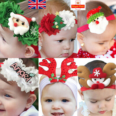 UK Baby Christmas Headbands Hair Bands Newborn Floral Bow Knot Accessories Xmas