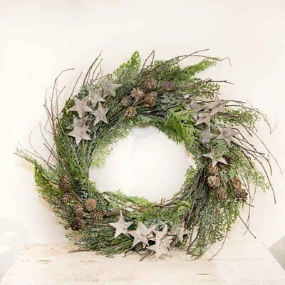 Rustic Hanging Round Twig Wreath With Glitter & Stars Chic Wedding Decoration