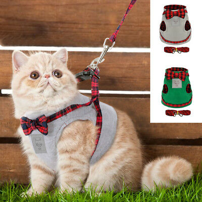 Warm Cat Harness and Leash set Cute Small Puppy Kitten Vest Clothes S M L