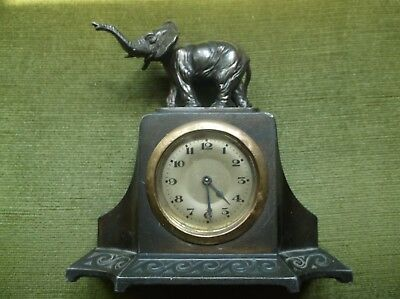 Rare Antique 19Th C Arts & Crafts Small Mantle Clock With An Elephant On The Top