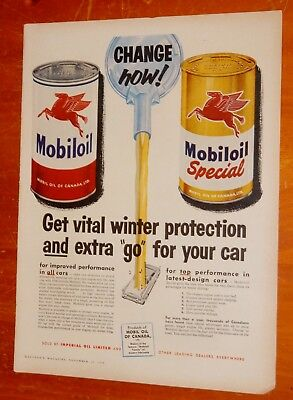 1956 MOBILOIL & SPECIAL ENGINE OIL CANADIAN AD / VINTAGE 50s FIFTIES RETRO