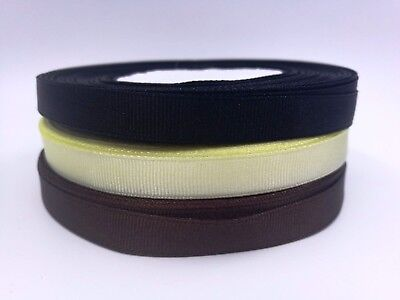 10mm width, Black, Baby Yellow, Brown Colour Grosgrain Ribbon, double side