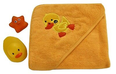 100% Cotton Baby Hooded Towel Yellow Duck Design Unisex Boys Girls 75*75 cm